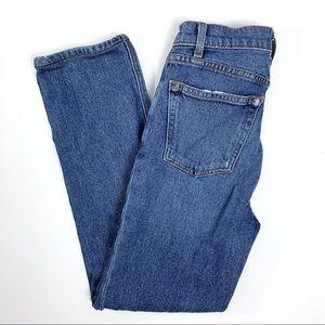 Reformation Liza Hight Straight Jeans.  Kasai wash